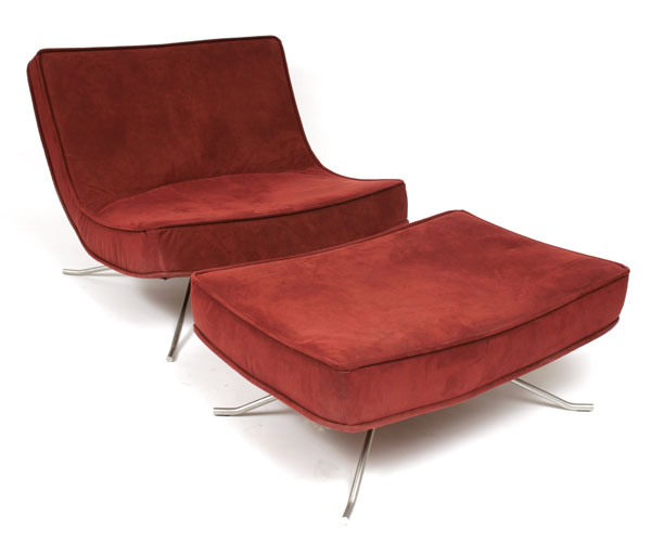 Ligne Roset Chair & Ottoman | red modern furniture :  furniture red ottoman modern