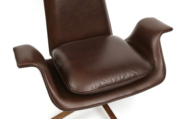 Sculptural leather lounge chair by alf svensson red for Contemporary leather lounge chairs