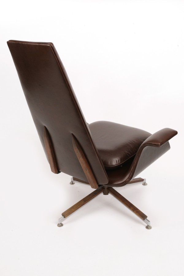 Sculptural Leather Lounge Chair by Alf Svensson
