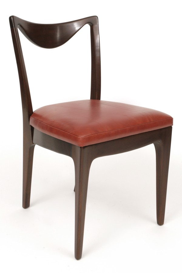 6 Sculptural Mahogany Leather Dining Chairs Red Modern Furniture