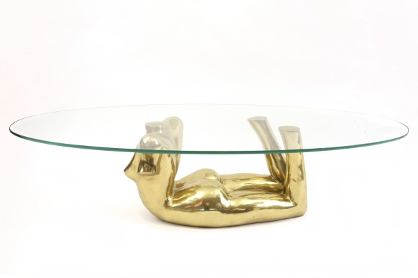 Bronze Glass Female Form Cocktail Table Red Modern Furniture
