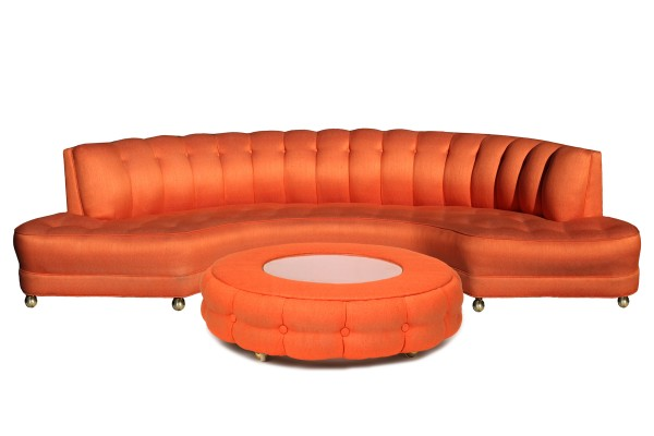 Custom 1950 S Orange Sofa Ottoman Red Modern Furniture