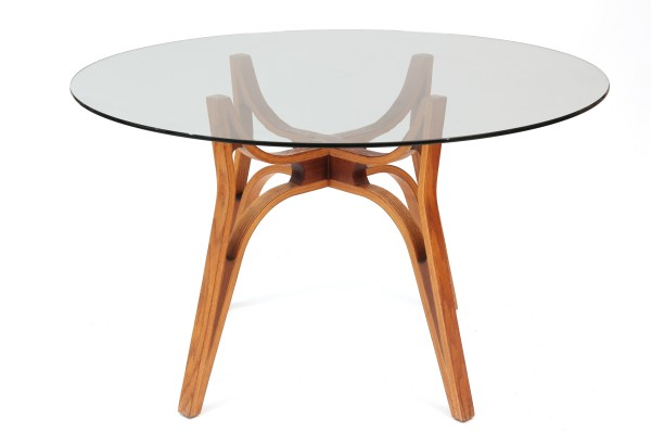 Steamed Bent Wood Glass Dining Table Red Modern Furniture