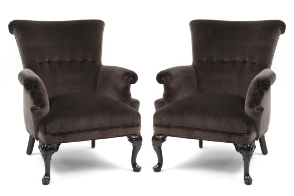 Pair Of Velvet Amp Ebonized Walnut Parlor Chairs Red