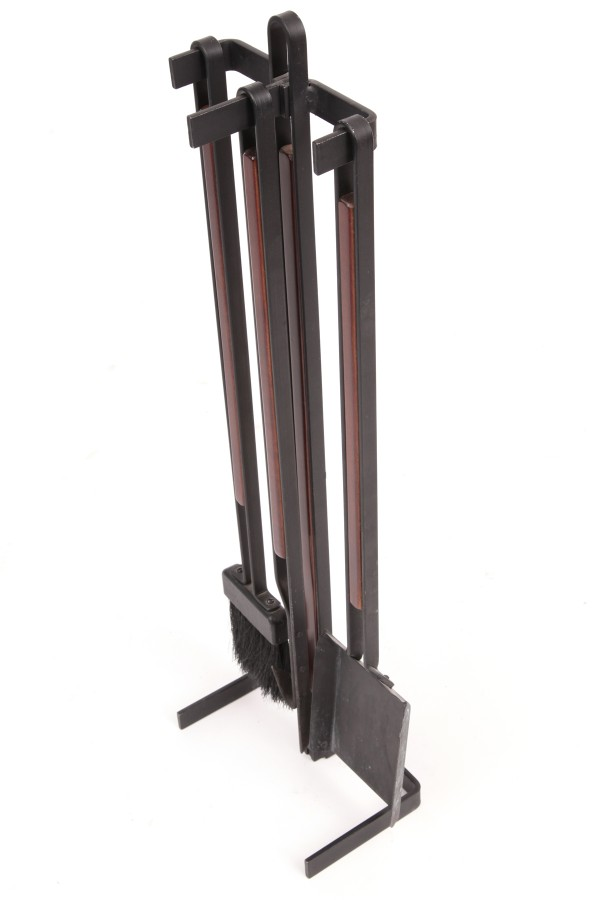 Walnut And Wrought Iron Modernist Fireplace Set Red