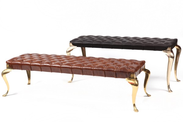 Tufted Leather Brass Italian Bench Red Modern Furniture