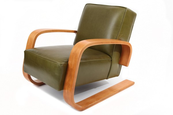 Early Alvar Aalto Leather & Birch Tank Chair | red modern ...
