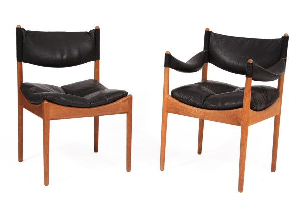 12 kristian vedel oak leather dining chairs red modern for Red modern dining chairs