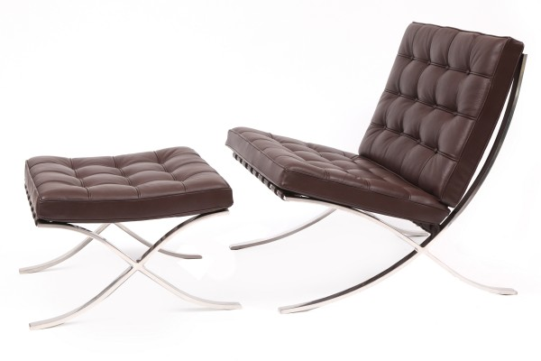 der rohe for knoll barcelona chair and ottoman red modern furniture