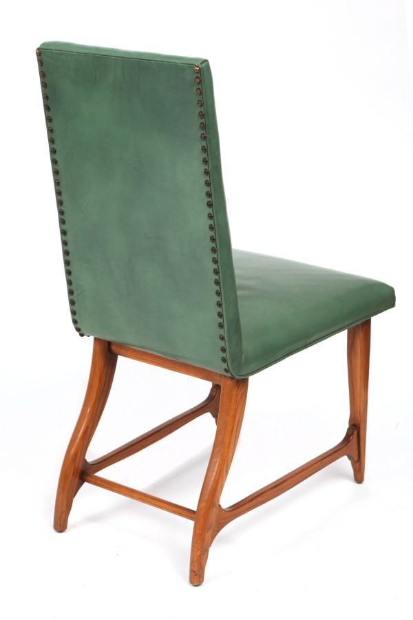 6 leather oak dining chairs by harold schwartz for for Modern oak dining chairs