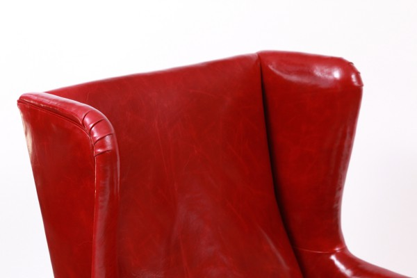 Illums Bolighus Leather Wingback Chair And Ottoman Red