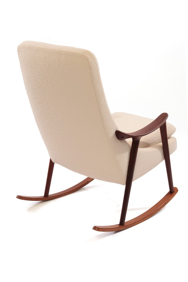 Sculptural Teak & Upholstered Danish Rocking Chair