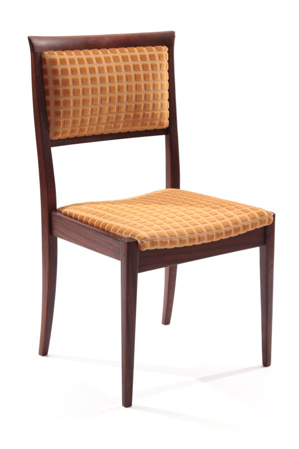 14 tapered mahogany upholstered dining chairs red for Upholstered dining chairs contemporary