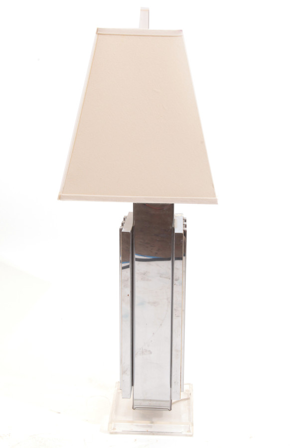 Large Scale Brass Chrome Amp Lucite Table Lamp