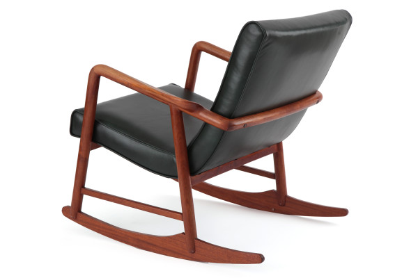 Red Leather Rocking Chair ~ Sculptural teak and leather danish rocking chair red