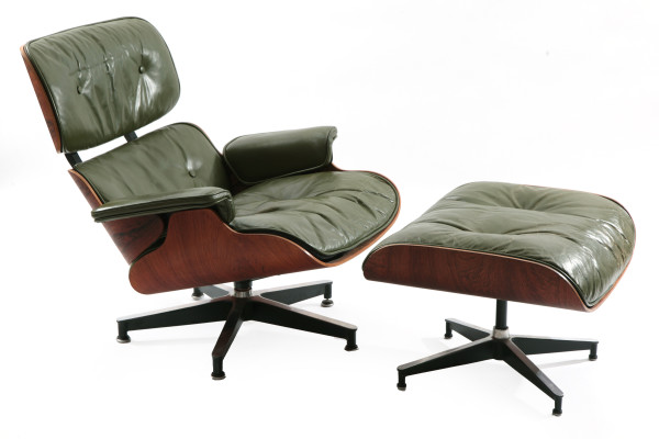 Early Green Leather Amp Rosewood Eames Lounge Chair