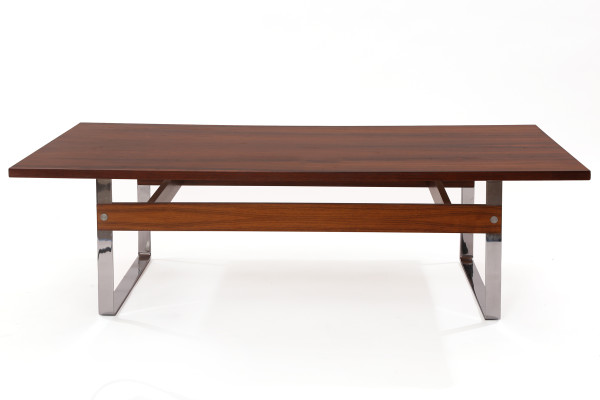 Brazilian Rosewood And Polished Steel Cocktail Table Red Modern Furniture