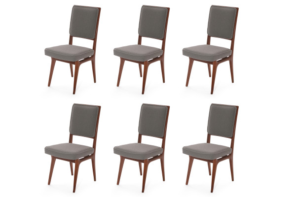 Six Sculpted Walnut and Upholstered Dining Chairs red  : Six Sculpted Walnut Upholstered Dining Chairs 1 600x400 from redmodernfurniture.com size 600 x 400 jpeg 51kB