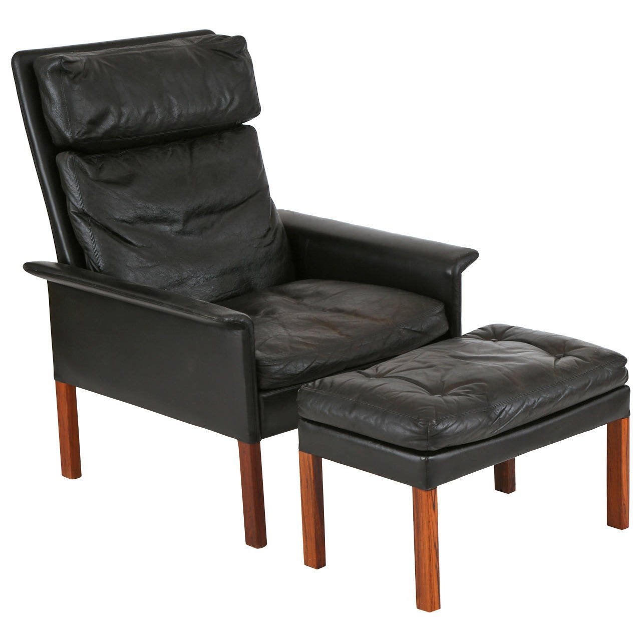 Beau Hans Olsen Leather And Rosewood Lounge Chair And Ottoman