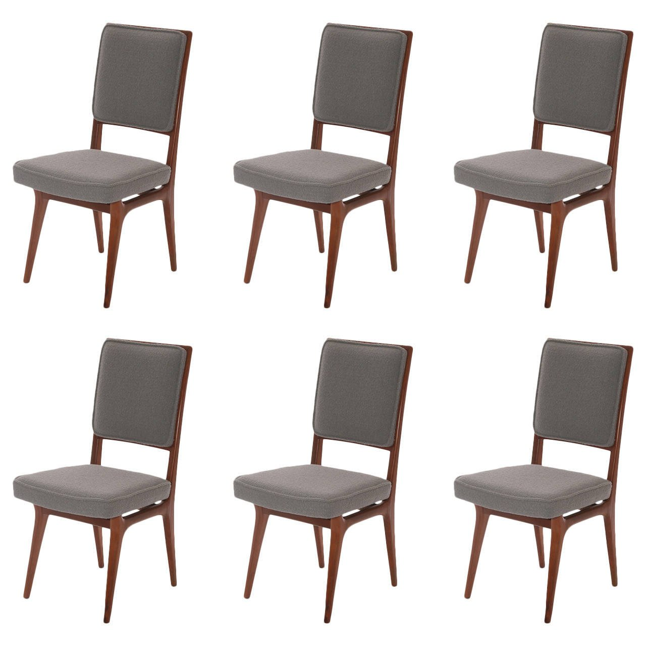 Six Sculpted Walnut And Upholstered Dining Chairs Red
