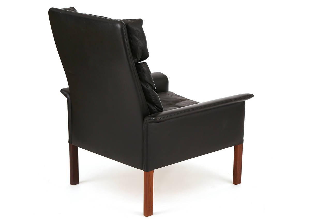 Hans Olsen Leather And Rosewood Lounge Chair And Ottoman