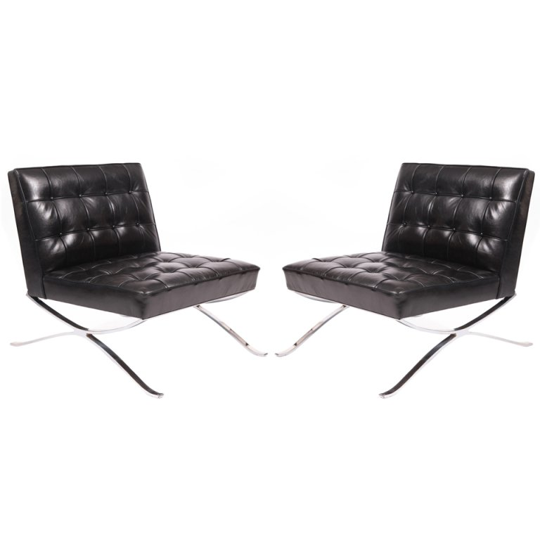 Rare Pair Of Steel And Leather Lounge Chairs