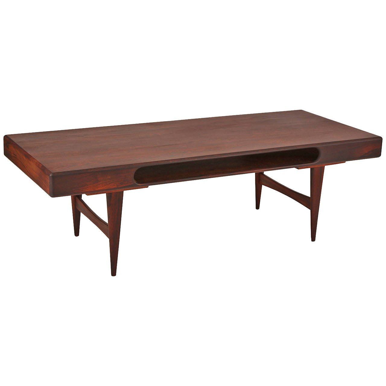 Danish rosewood cocktail table with cutout red modern for Red modern coffee table