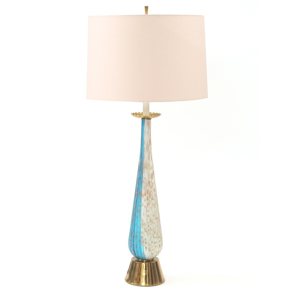 Barovier e Toso Handblown Murano Glass and Brass Table Lamp – Red ...