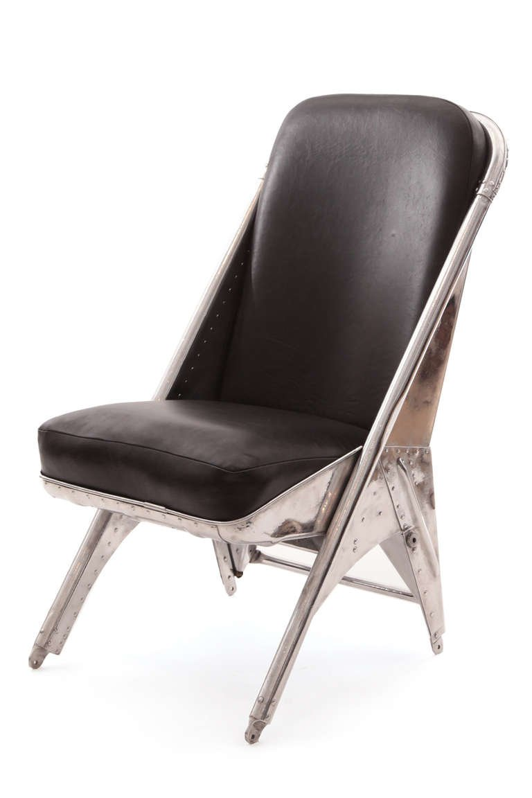 Riveted Aluminum And Leather Cessna Chairs Red Modern