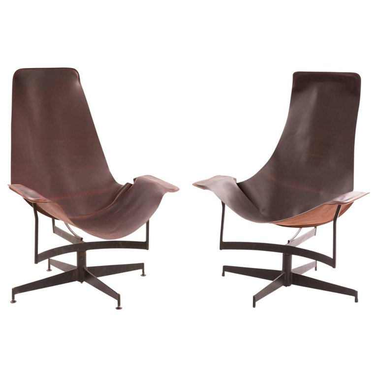 William Katavolos for Leathercrafter Leather and Iron Sling Chairs  sc 1 st  Red Modern Furniture & William Katavolos for Leathercrafter Leather and Iron Sling Chairs ...