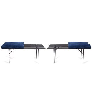 Pair-of-Iron-and-Suede-Slat-Benches-1