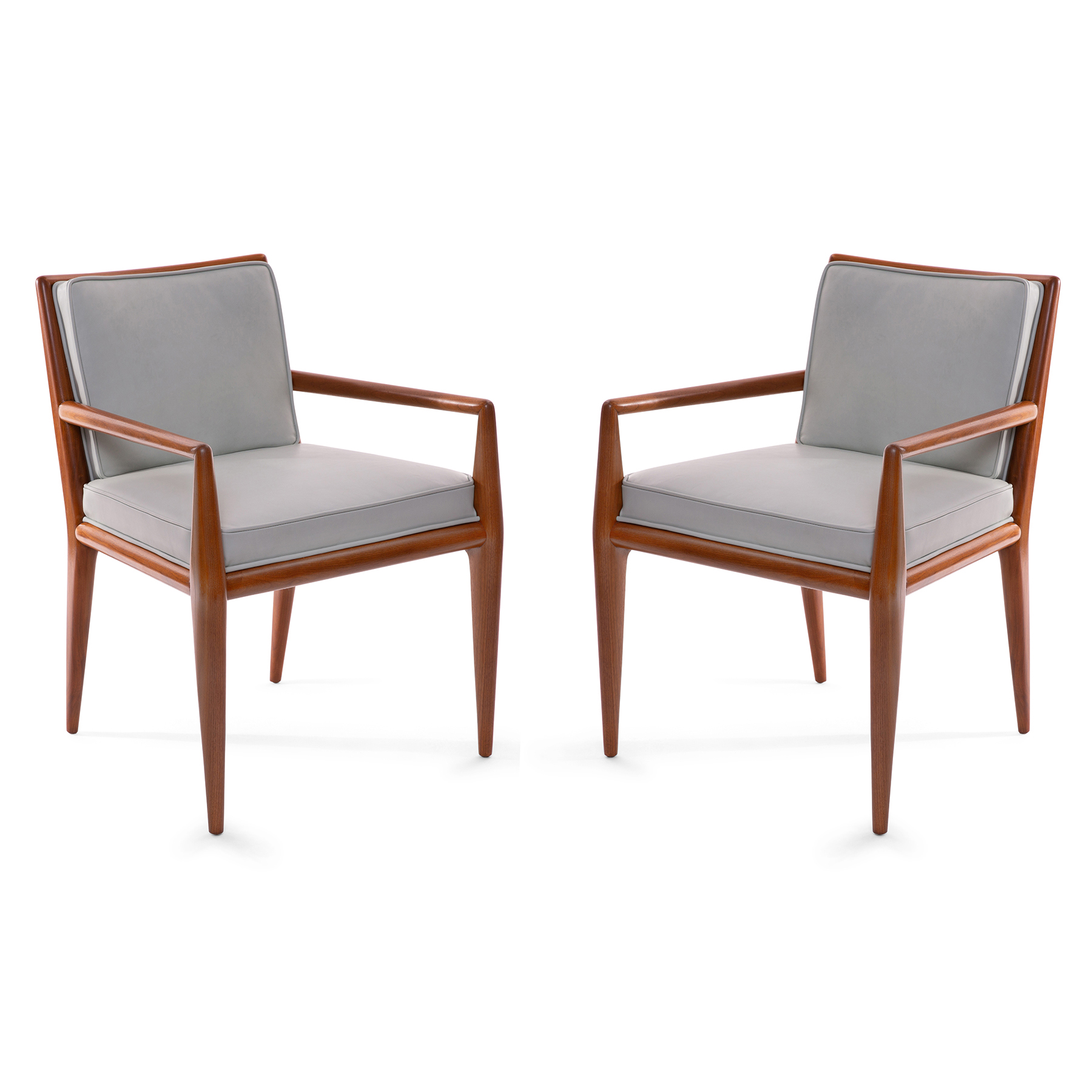 Pair Of T.H. Robsjohn Gibbings Walnut Armchairs With Robin Egg Blue Leather